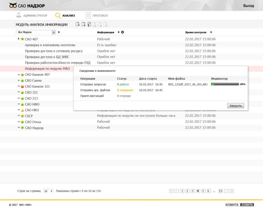 Разработка интерфейса САО Надзор